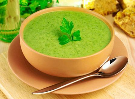 Watercress ecomil leek coconut soup health diet vegan almond milk