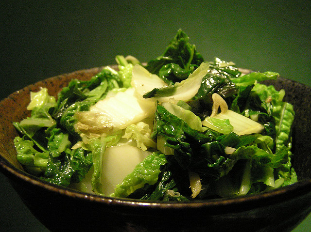 chinese cabbage with coconut cream